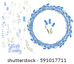 spring set with eggs and blue... | Shutterstock .eps vector #591017711