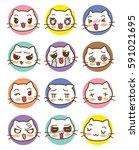 cat heads emoticons vector set | Shutterstock .eps vector #591021695