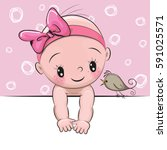 Cute Cartoon Baby Girl And A...