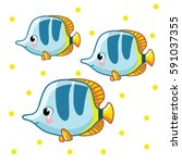 colorful sea fish. colorful sea ... | Shutterstock .eps vector #591037355