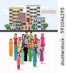 big crowd of indian women... | Shutterstock .eps vector #591046295