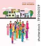 big crowd of indian women... | Shutterstock .eps vector #591046319