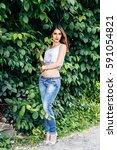 portrait of a sensual pretty... | Shutterstock . vector #591054821