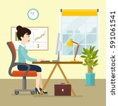 office workplace with table ...   Shutterstock .eps vector #591061541