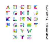 colorful geometric alphabet.... | Shutterstock .eps vector #591063941