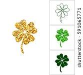 set of four leaved clover for... | Shutterstock .eps vector #591065771