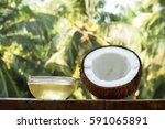 coconut and coconut oil with... | Shutterstock . vector #591065891