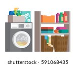 laundry room with washing... | Shutterstock .eps vector #591068435