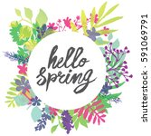 hello spring circle frame... | Shutterstock .eps vector #591069791