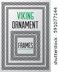 viking ornament square frames....   Shutterstock .eps vector #591077144