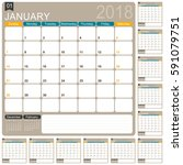 calendar 2018   english... | Shutterstock .eps vector #591079751