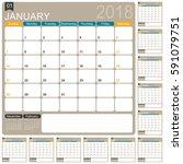 calendar 2018   english... | Shutterstock .eps vector #591079751