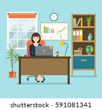 business woman or a clerk... | Shutterstock .eps vector #591081341