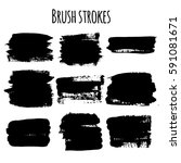 vector set of brush strokes | Shutterstock .eps vector #591081671