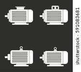 electric motor vector icons set.... | Shutterstock .eps vector #591083681