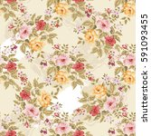 seamless floral pattern with... | Shutterstock .eps vector #591093455