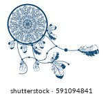 decorative dreamcatcher with... | Shutterstock . vector #591094841