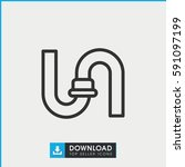 pipe icon. simple outline pipe... | Shutterstock .eps vector #591097199