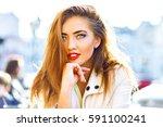close up portrait of blonde... | Shutterstock . vector #591100241