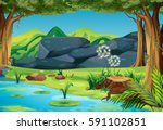 scene with river in the forest... | Shutterstock .eps vector #591102851