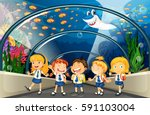 students visiting aquarium with ... | Shutterstock .eps vector #591103004
