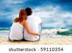 sea view of a couple sitting on ... | Shutterstock . vector #59110354