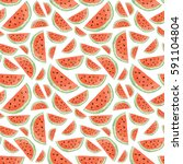 seamless pattern made of sliced ... | Shutterstock . vector #591104804