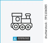train toy icon. simple outline... | Shutterstock .eps vector #591106085