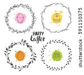 set of four cute floral wreaths ... | Shutterstock .eps vector #591110375