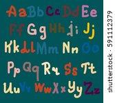 hand drawn alphabet. brush... | Shutterstock .eps vector #591112379
