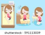 cute cartoon woman feel... | Shutterstock .eps vector #591113039