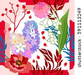 spring colors. silk scarf with... | Shutterstock .eps vector #591113249