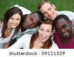 five young  happy people from... | Shutterstock . vector #59111329