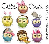 Stock photo set of cute cartoon owls on a white background 591121727