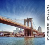 hdr image of brooklyn bridge  ... | Shutterstock . vector #591121751