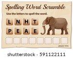 spelling word scramble game for ... | Shutterstock .eps vector #591122111