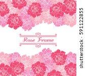 roses frame | Shutterstock .eps vector #591122855
