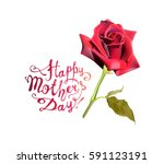 Stock vector happy mother s day red rose vector card 591123191