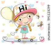 cute cartoon girl with balloon... | Shutterstock . vector #591123299