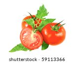 Lush tomatoes with green foliage. Isolated over white. - stock photo