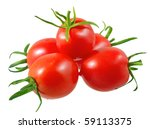 Lush tomatoes . Isolated over white. - stock photo