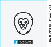 simple outline lion vector icon....