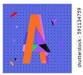 vector letter a memphis style...   Shutterstock .eps vector #591134759