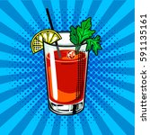 bloody mary cocktail pop art... | Shutterstock .eps vector #591135161