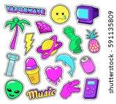 vaporwave fashion funky... | Shutterstock .eps vector #591135809