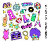 disco party retro fashion... | Shutterstock .eps vector #591135845
