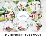the florist desktop with... | Shutterstock . vector #591139091