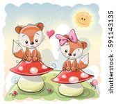 Two Cute Cartoon Foxes Are...