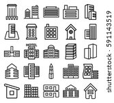 skyscraper icons set. set of 25 ... | Shutterstock .eps vector #591143519