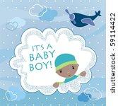 baby boy arrival announcement... | Shutterstock .eps vector #59114422
